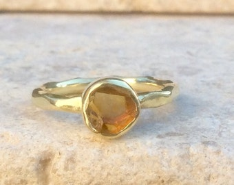 Raw Citrine Ring, US 5, Raw Birthstone Ring, Brandy Citrine Gemstone, Rough Citrine Ring, Natural Citrine Gemstone Ring