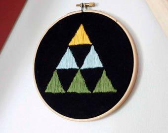 Embroidery Hoop Art, Modern Embroidery, Handembroidered Wall Art, Triangle Art, Eclectic Wall Art, Room Decor, Modern Decor, Minimalist Art