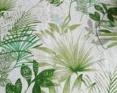 White Green Linen Tablecloth 54 x120. Natural linen tablecloth. Green Grau Palm Tablecloth