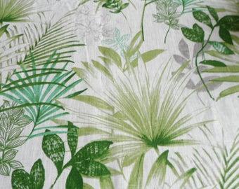 White Green Linen Tablecloth 54 x120. Natural linen tablecloth. Green Grau Palm Leaves Tablecloth