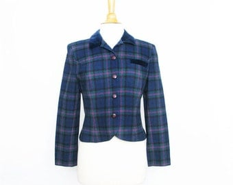 vintage 80s Pendleton plaid fitted cropped jacket blazer