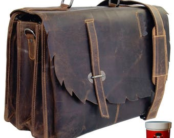 Big briefcase with a laptop pocket MANITOU made of Western leather
