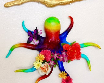"Original Hand-painted and Decorated Octopus Statuette Inspired by the Beatles' Song ""Octopus's Garden"" - One-of-a-kind Upcycled Animal Toy"