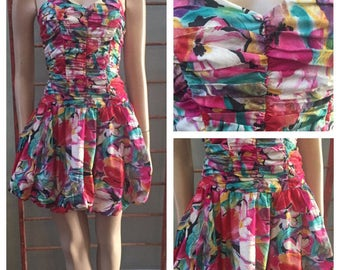 Awesome Byer Too 80's multicolored Bubble Skirt strapless dress / size 7
