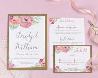 Watercolour Flowers Wedding Invitations - Bridget
