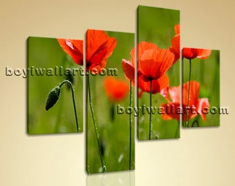 Large Floral Canvas Art Poppy Flower Wall Painting On Living Room 4 Pieces print, Large Poppy Flower Wall Art, Living Room, Raw Umber