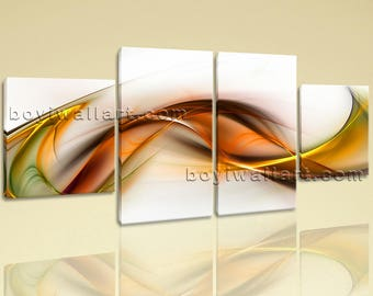 Large Abstract Picture Painting Modern On Canvas Dining Room 4 Panels Prints, Large Abstract Wall Art, Dining Room, Hint Of Red