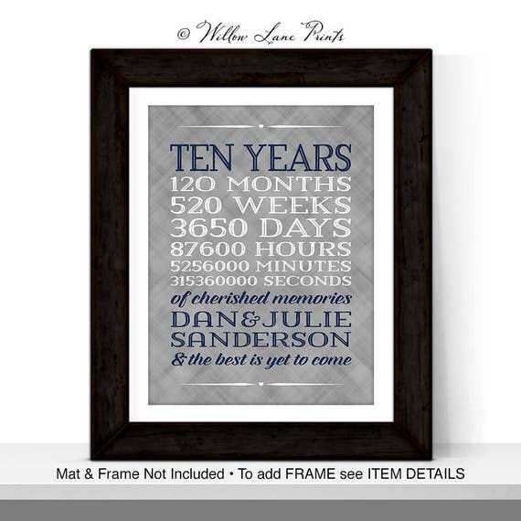 10 year anniversary gift for men women custom gift for for Gift for first wedding anniversary to wife