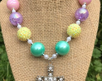 Easter Cross Necklace, Cross Chunky Necklace, Easter Necklace, Pastel Chunky Necklace