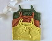 Desert bloom Set | 3 12-month toddler organic tank set | yellow rust green | hand-dyed mustard forest orange | organic baby t-shirt