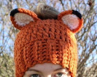 Handmade Messy Bun Fox Hat, Wolf Ponytail Beanie, Handmade Crochet Messy Bun Beanie, Knit Pony tail Hat, Ladies Kids Girls' Teen Winter Hat