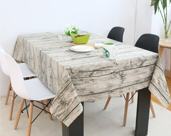 Tablecloth, Wood Texture Linen Cotton Tablecloth, Vintage Decorative Dining  Room Daily Kintchen Overlay,