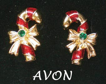 Avon Candy Cane Pierced Earrings for Christmas Holidays - 4999