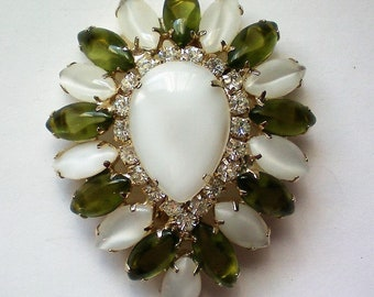 Large Tear Drop Moonstone Rhinestone Brooch - 5223