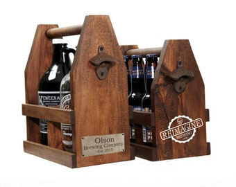 Personalized 64oz Growler Beer Tote Wooden Beer Carrier, Ready to Ship Craft Beer Caddy