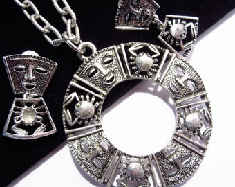 Sarah Coventry Talisman of Love Necklace Earrings Vintage Jewelry Set 1970s