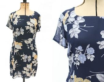 Laura Ashley Vintage Dress • Navy Blue Rose Dress • 90s Dress • Shift Dress • Tunic Dress • 1990s 90s Dress • Short Dress • Day Dress. M