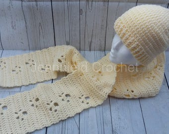 Soft Hand Crocheted Meandering Paw Prints Scarf - Adult Size