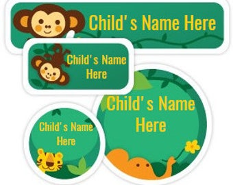 Personalized Daycare Label - Custom Name Sticker - Jungle Animal Label - Personalized Vinyl Name Label - Waterproof Label Set of 72 Stickers