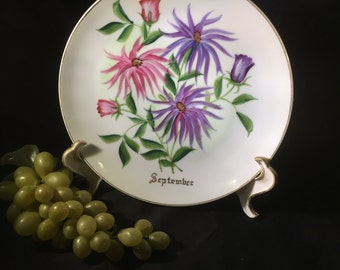 H037  September hand painted plate