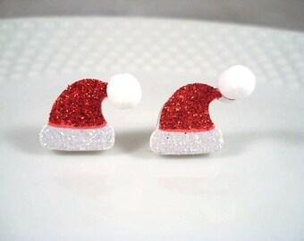 Santa Hat Post Earrings Christmas Studs