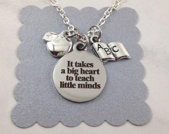 Teacher Necklace, Teacher Appreciation Gift, Teacher Christmas Gift, Gift for Teacher, Teacher Jewelry, Apple Charm, Book Charm