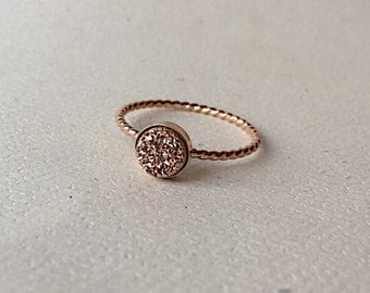 6 mm Rose Gold Druzy Ring - 14K Gold Filled Twisted Rope Ring - Druzy Ring