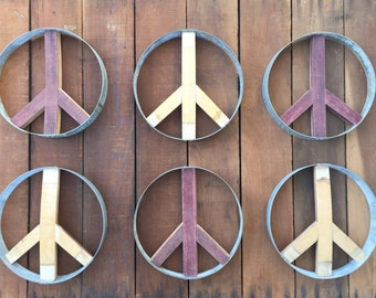 Reversible Peace Sign From Recycled Wine Barrel - Small
