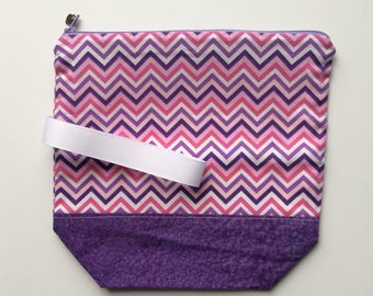 Quirky Monday Crafts Zipper Pouch, Purple pink chevron, Knitting project bag, Crochet project bag, cosmetics bag, lined zipper bag
