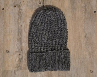 Knitted beanie hat ~ Grey beanie ~ chunky hat ~ knitted hat ~ woman hat ~ Gift for Women ~ gift for her ~ grey hat