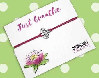 Yoga jewelry, Yoga bracelet, lotus bracelet, Gift for her, Yoga watercolour, bachelorette gifts, Wish bracelet, adjustable bracelet, BFF