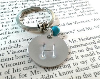 Hand Stamped Initial Keyring + Turquoise Bead, Personalised Keyring, Friendship Gift, Student Gift, Teachers Gift, Personalized Keychain