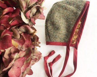 Handmade Baby Bonnet - Harris Tweed Fabric,