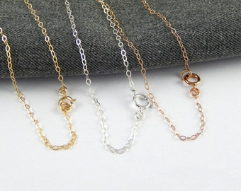 Gold filled chain necklace, sterling silver chain necklace, rose gold filled chain necklace, chain only, 294