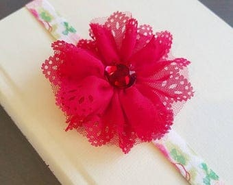 ADD ON - Red or White Chiffon Eyelet Flower