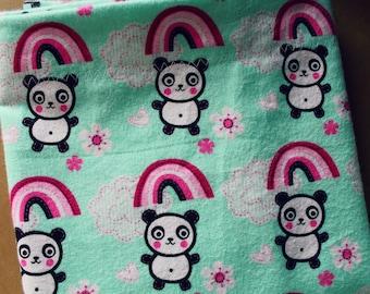 Mint Green Panda and Rainbow Pillow Case (2 Pc Set)