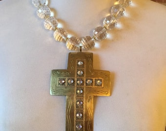 Faceted Crystal Quartz  Statement Necklace with Removable  Vintage Etched Metal and  Rhinestone Cross Pendant