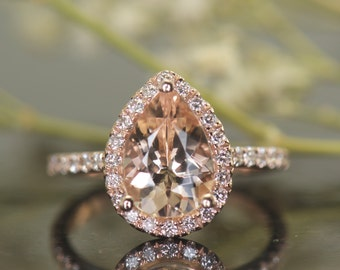 Pear Shape Morganite Engagement Ring in White Gold, 1.50ct Morganite in Diamond Halo, Shared Prong Setting, Fit Flush Design, Genesis