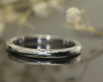 Diamond Ring with Criss-Cross Beaded Milgrain, Round Brilliant Cut Diamonds Bezel Set, 14k white  Gold, Stackable, Wedding Band, Robin