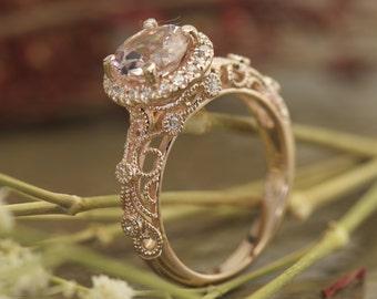 Morganite Engagement Ring in Rose Gold, 1.25ct Round Brilliant Morganite in Diamond Halo, Filigree and Beaded Milgrain Accents, Ashlyn