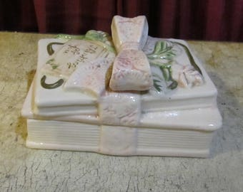 Thinking of You Ceramic Book KeepsakeTrinket Box