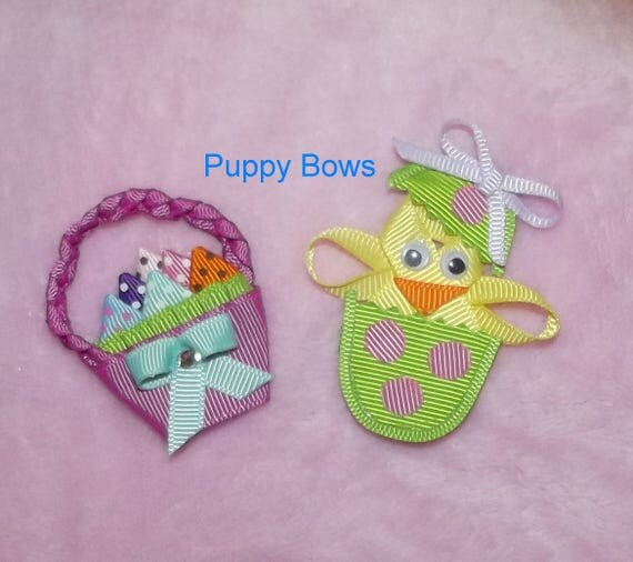 Puppy Bows ~ Easter dog bow chick in egg basket barrette or bands