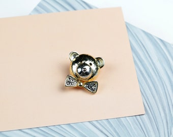 Vintage brooch costume jewely stick pin gold textured teddy bear brooch