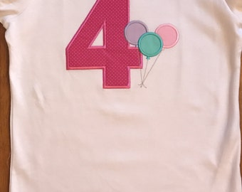 Pink, Lavender, and Aqua Birthday Balloons Shirt or Baby Bodysuit