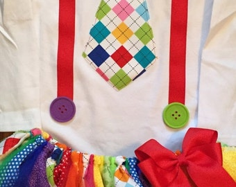 Rainbow Clown Tie and Suspender Tutu Outfit