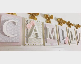 Nursery letters, Letters for Baby's Room, Wood Letters for Nursery, Wall Letters for Nursery, Baby Girls Room, Pink and Gold Nursery Decor