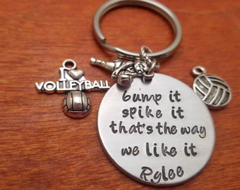 Handstamped personalized-volleyball keychain-bump it-spike it-Volleyball player key chain-Volleyball bag tag-Volleyball team-Volleyball gift