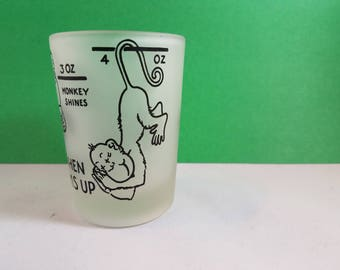 Vintage Quirky Cute Frosted Monkey Shot Glass