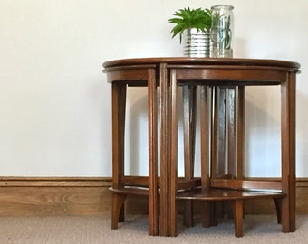 SOLD Vintage, retro coffee table with four side tables. 1920's mahogany coffee table.