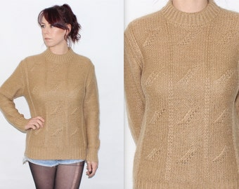 Vintage 1980's Beige WOOL Blend KNIT Detail Crew Neck Collar SLOUCH Jumper Size Small